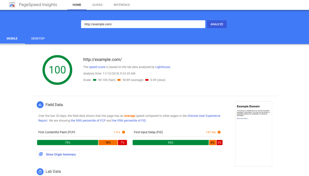 Outil Page Speed Google